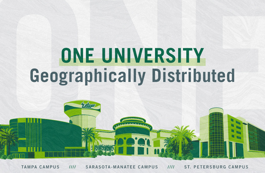 ONE USF graphic with landmarks from all three campuses in green. St. Petersburg Campus, Tampa Campus, Sarasota-Manatee campus across bottom.
