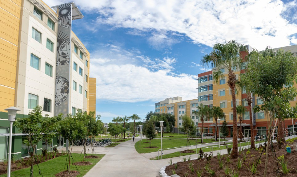 A view of the courtyard of the Villages at USF Tampa campus