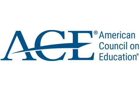 ACE American Council on Education logo, blue on white