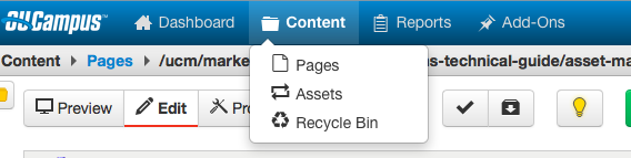 content dropdown showing where asset option is located