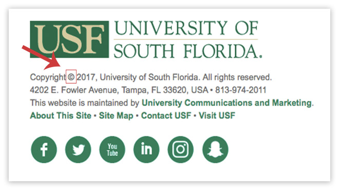 USF footer with copyright login link highlighted