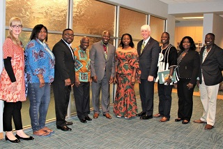 Dr. Kiki Caruson and Provost Wilcox welcome an international delegation from Ghana